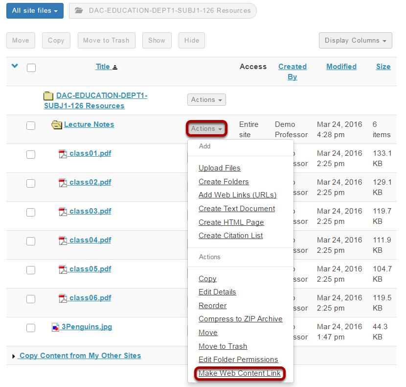 Click Actions > Edit Details > Make Web Content Link.