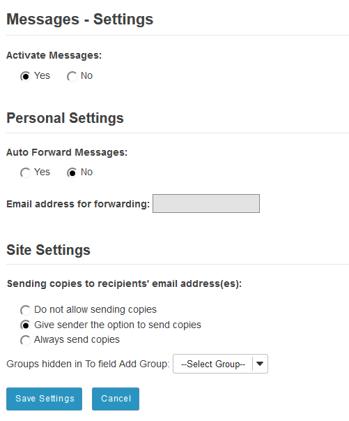 Site owner (instructor) settings options: