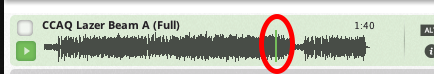 Click anywhere on the waveform. The track will play at whatever point you select.
