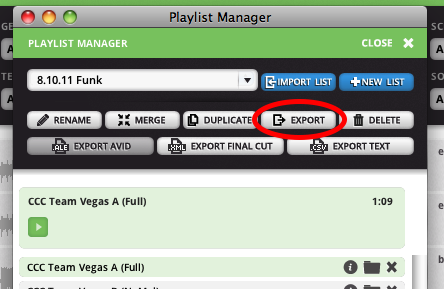 In the Playlist Manager, click Export.