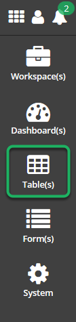 Clicking on the Table(s) to open the Table(s) menu.