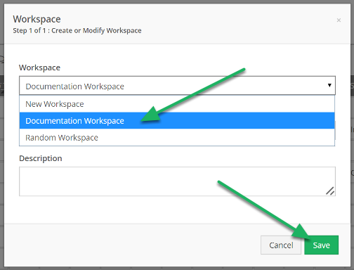 Select the Workspace to add the dashboard to, and click Save
