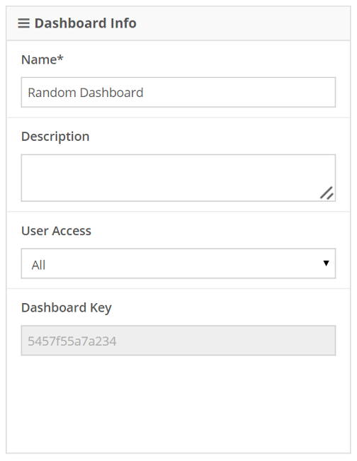 Dashboard Info contains all the basic information, including full or limited access