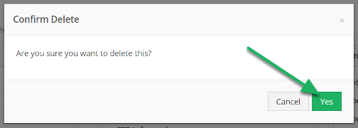 Confirm deletion by clicking Yes