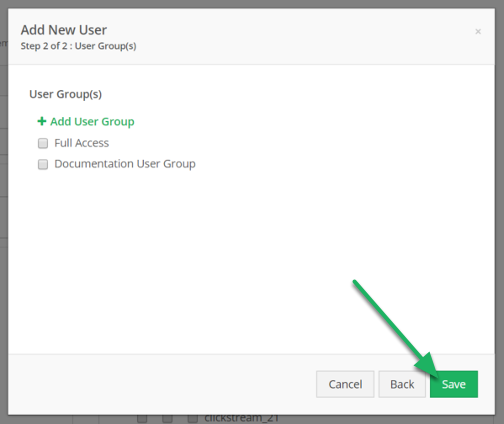 Select User Group(s) and click Save