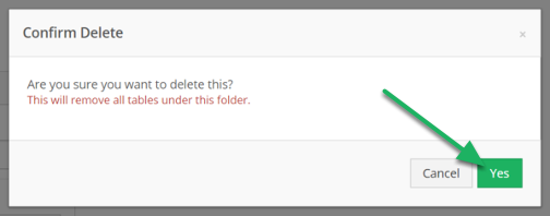 Confirm you would like to delete the folder and contents