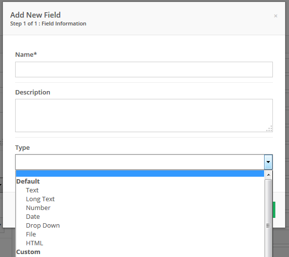 Types of fields available after initial setup.