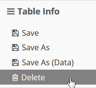 Open the Table Info sandwich and select Delete.