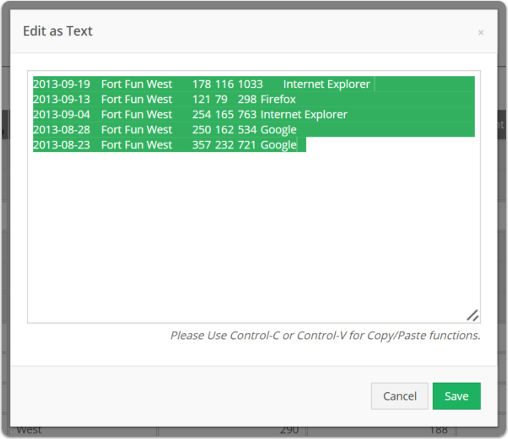 Copy the data to edit. When done editing paste back in and click save.