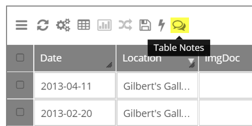 Select the Table Notes button in the table options