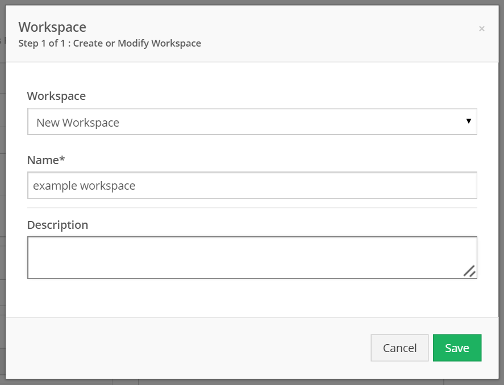 Either select, or create and name a new workspace, and click Save