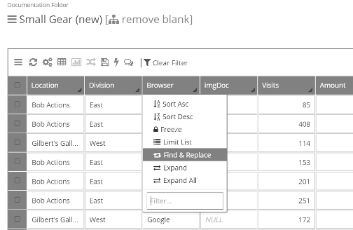 Right click the column, and select Find and Replace