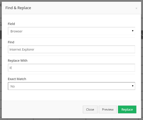 Enter your search value in Find, and your replace value in Replace With