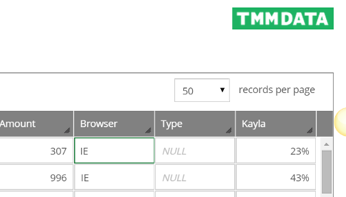 Since a NULL and empty cell are different, we have added a way to update a cell to NULL. Simply click inside the cell