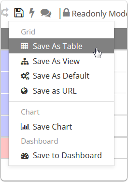 Click Save As Table