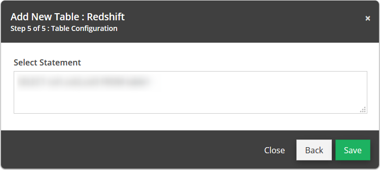 Make any adjustments to the select statement and hit save.