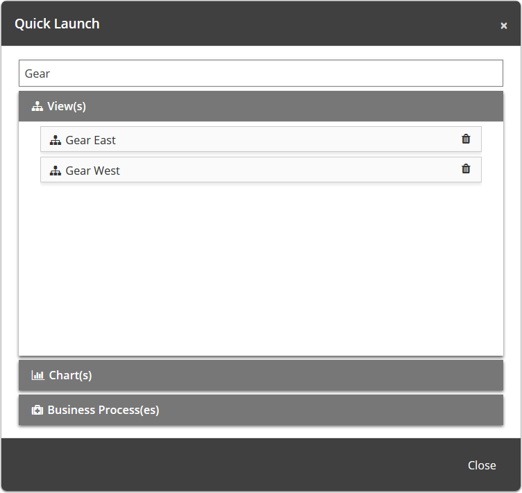 Search box is at the top of the modal and will search through everything included in the Quick Launch tool.