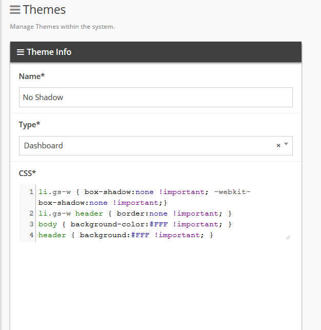 Create a dashboard theme under the 'Themes' system tool.