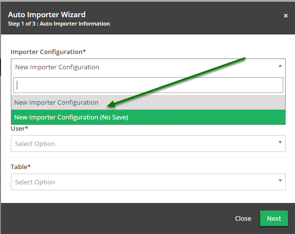 Select 'New Importer Configuration (No Save)' from the 'Importer Configuration' drop down.