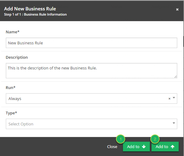 Click to add Business Rule to the Business Process.