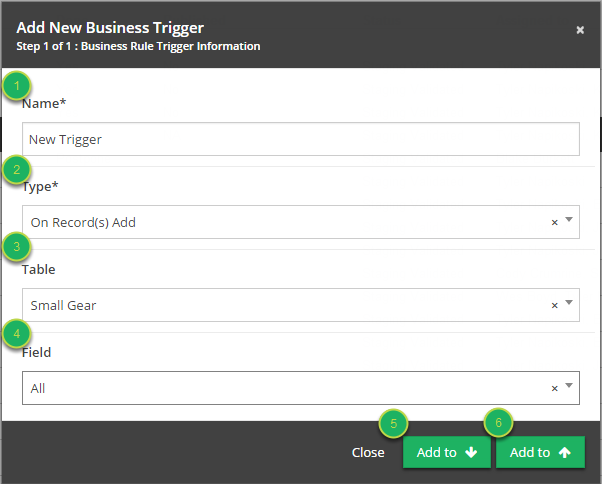 Fill out 'Add New Business Trigger' modal.
