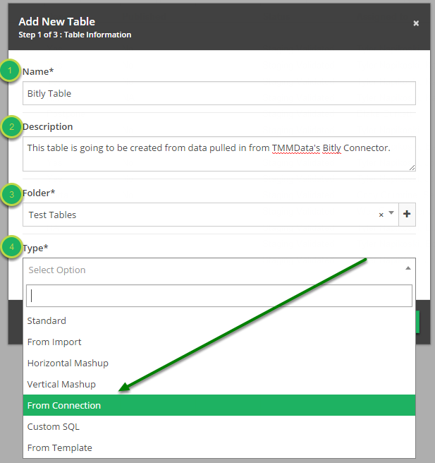 Fill out Table Information in 'Add New Table' modal.