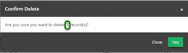 A 'Confirm Delete' message box will appear, displaying number of records to be deleted.