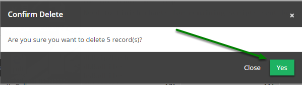 Click 'Yes' button to execute deletion of selected records.