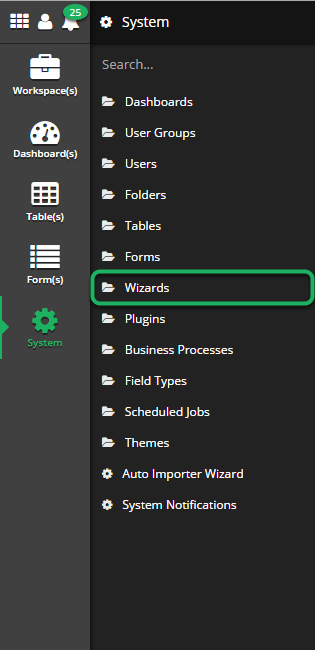 Open 'Wizards' system tool.