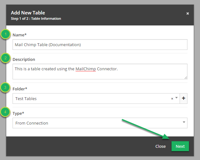Fill out information in 'Add New Table' modal.