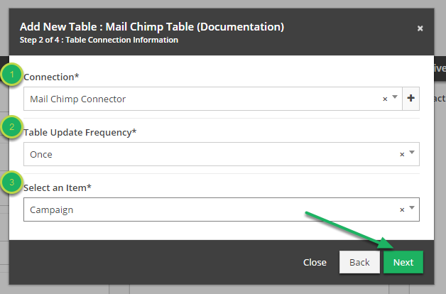 Fill out 'Table Connection Information' in 'Add New Table' modal.