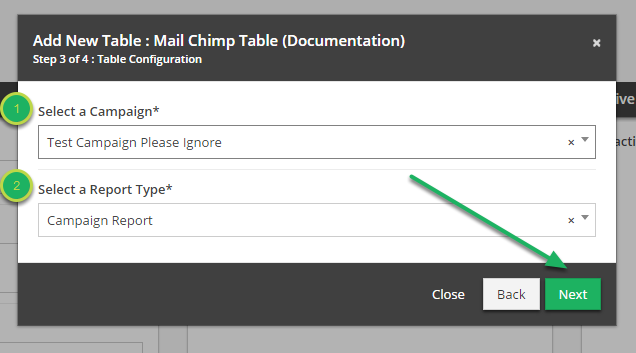 Fill out 'Table Configuration' in 'Add New Table' modal.