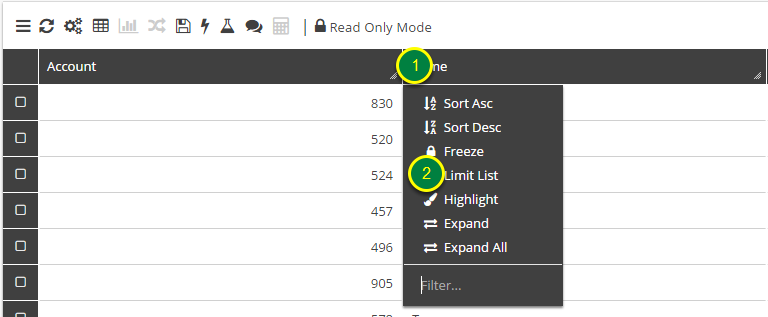 In Grid View right click the header of the field to be limited.