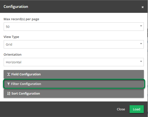 Expand 'Filter Configuration'