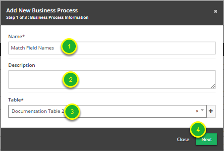 Fill out the form with the Business Process information.