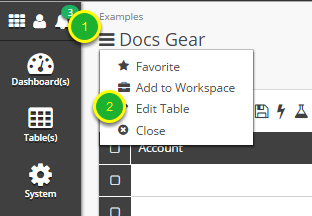 While in grid view of a table, open edit mode.