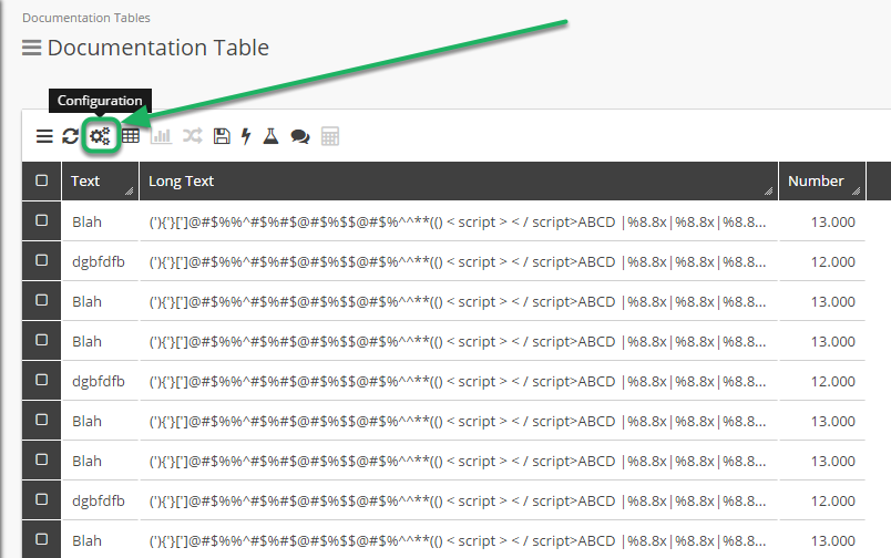 Open a Table into Grid View and select the Configuration Tool.