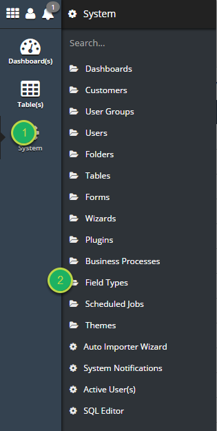 Navigate to the Field Types System Tool