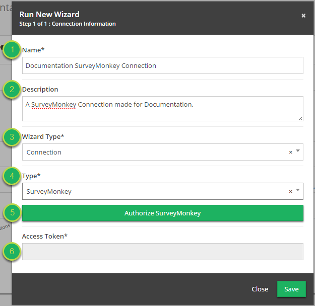 Fill out the 'Run New Wizard' modal information.