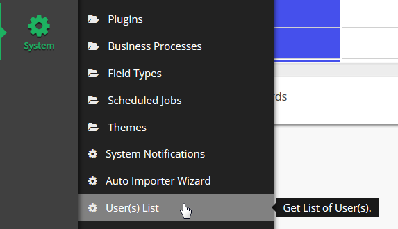 From the system menu click on User(s) List