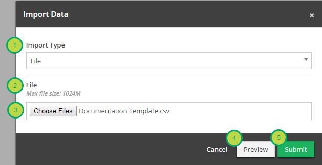 The Import Data modal will appear.