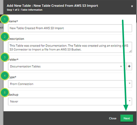 Fill out the 'Add New Table' modal.