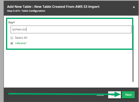 Fill out the 'Add New Table' modal (continued).