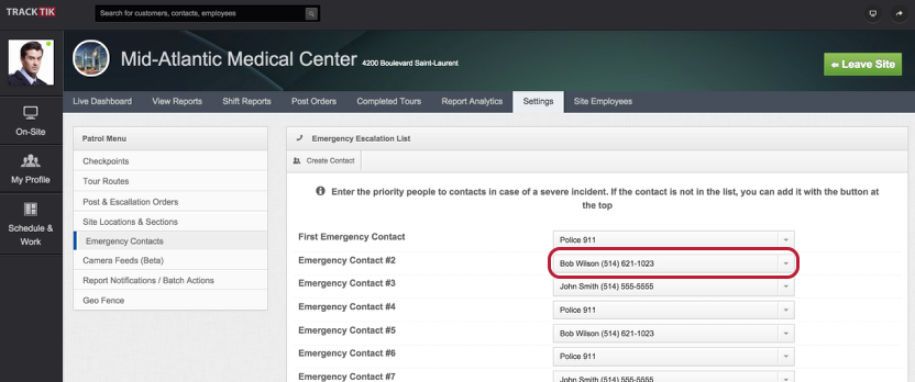 Assign Site Emergency Contacts and Escalation List