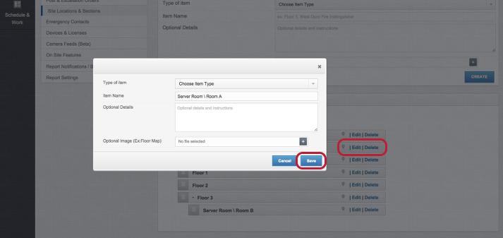 Edit / Delete a Site Location