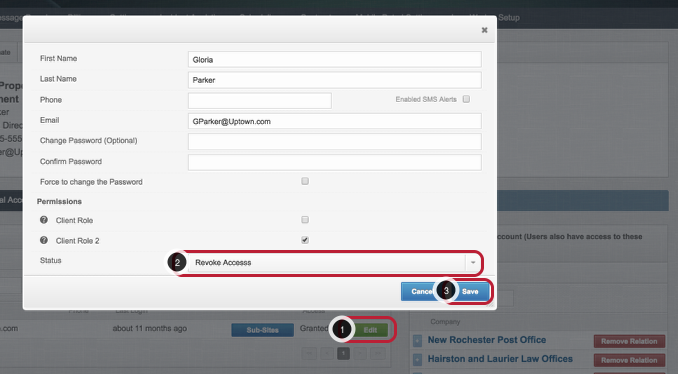 Edit / Revoke a Client Portal Access