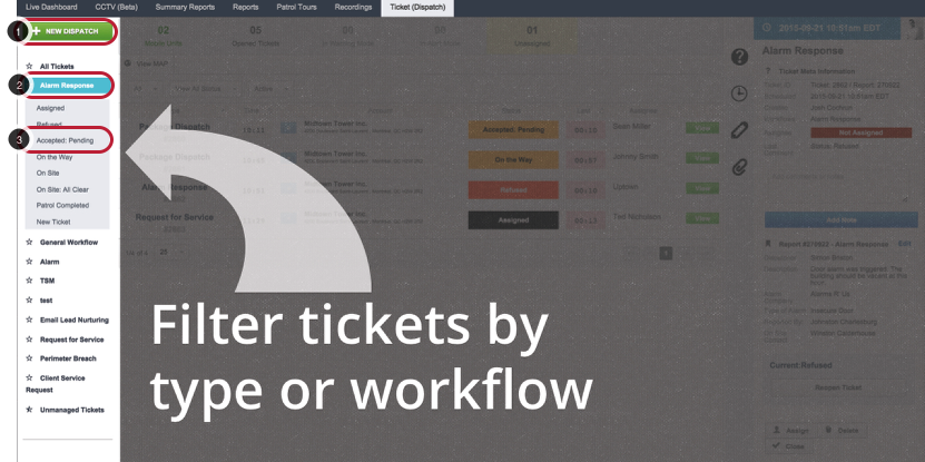 Ticket Filter Panel
