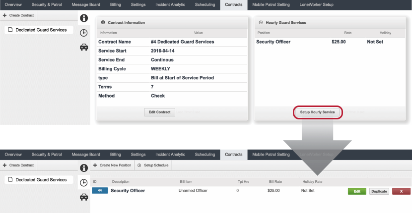 Configure Details of Hourly Guard Services