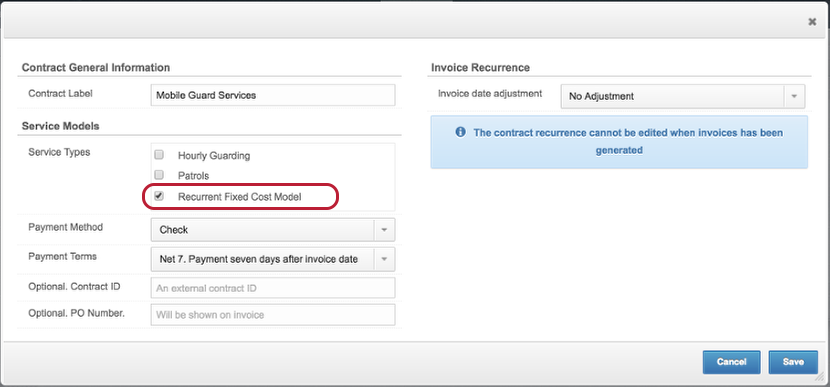 Create a Contract With Fixed Recurrent Items