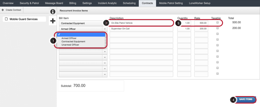 Create Recurrent Cost Items